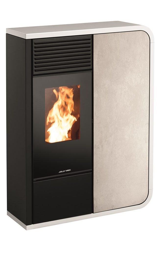 Thermopoêle eau pellets I-DEA IDRO FRONTALE profil couleur blanc et panneau couleur gres ivoire
