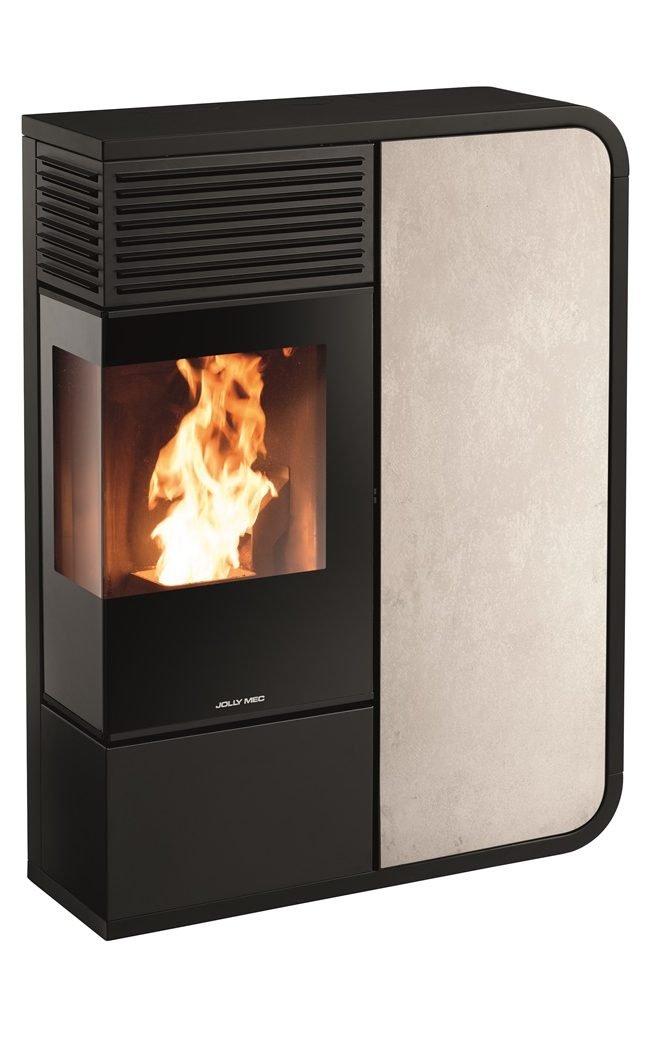 Thermopoêle eau pellets I-DEA IDRO ANGOLO profil couleur noir et panneau couleur gres ivoire