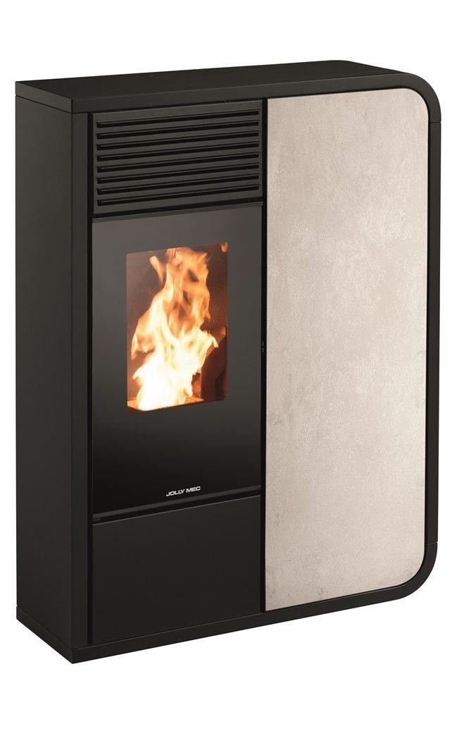 Thermopoêle eau pellets I-DEA IDRO FRONTALE profil couleur noir et panneau couleur gres ivoire