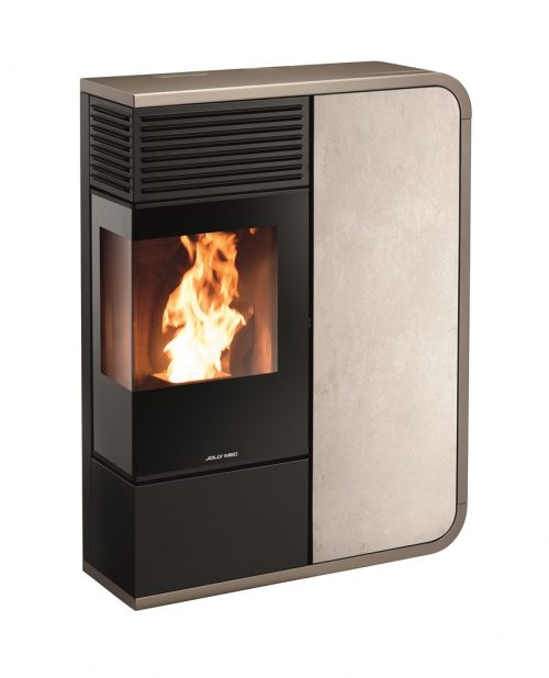 Thermopoêle eau pellets I-DEA IDRO ANGOLO profil couleur gris tourterelle et panneau couleur gres ivoire