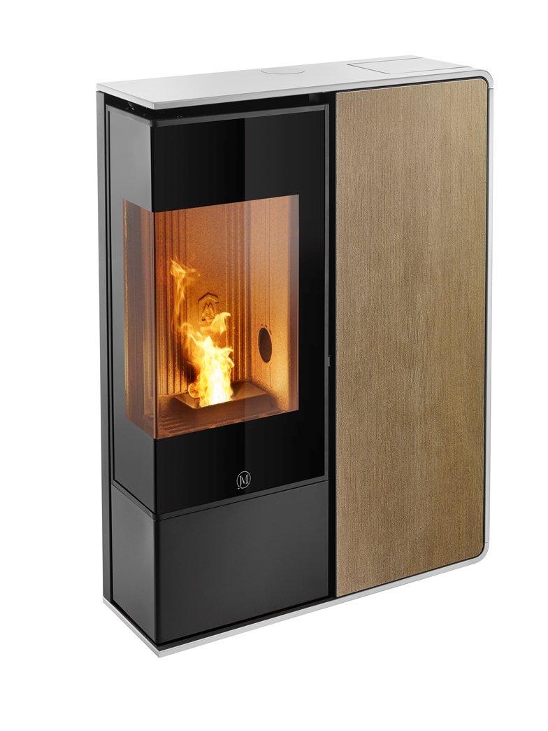 Thermopoêle air pellets I-DEA 2 ANGOLO profil couleur blanc et panneau couleur bois