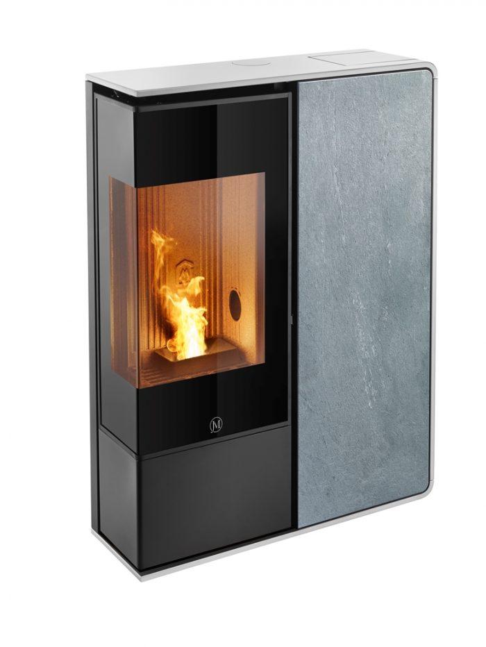 Thermopoêle air pellets I-DEA 2 ANGOLO profil couleur blanc et panneau couleur pierre