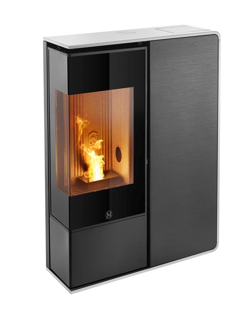 Thermopoêle air pellets I-DEA 2 ANGOLO profil couleur blanc et panneau couleur verre rayé noir