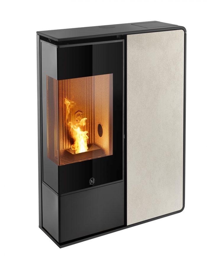 Thermopoêle air pellets I-DEA 2 ANGOLO profil couleur noir et panneau couleur ivoire