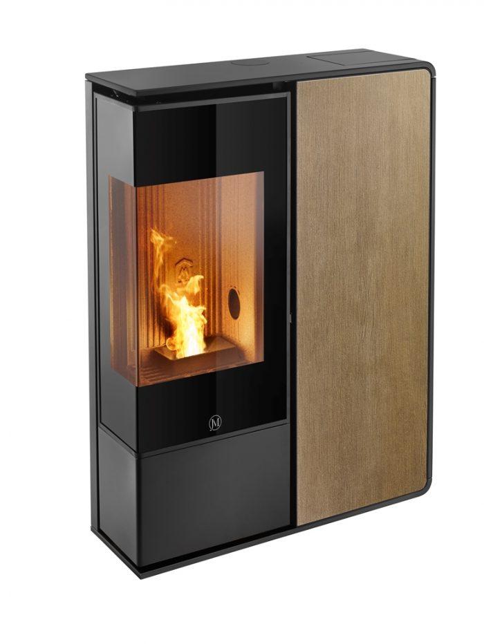 Thermopoêle air pellets I-DEA 2 ANGOLO profil couleur noir et panneau couleur bois