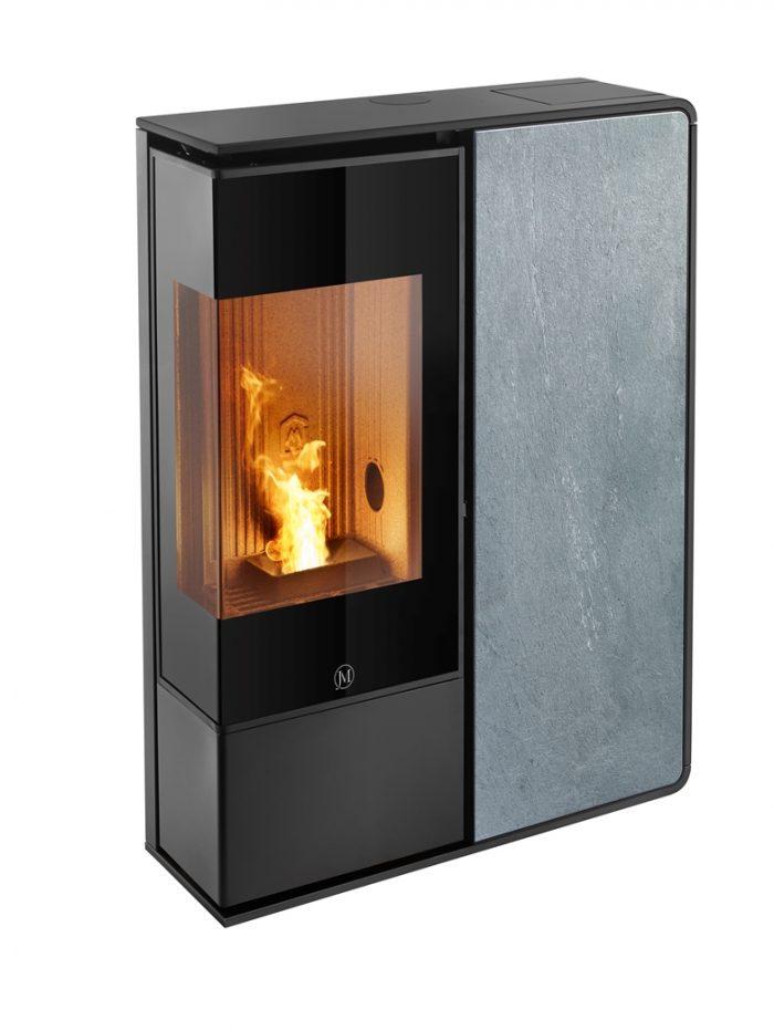Thermopoêle air pellets I-DEA 2 ANGOLO profil couleur noir et panneau couleur pierre