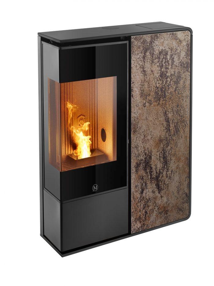 Thermopoêle air pellets I-DEA 2 ANGOLO profil couleur noir et panneau couleur rouille