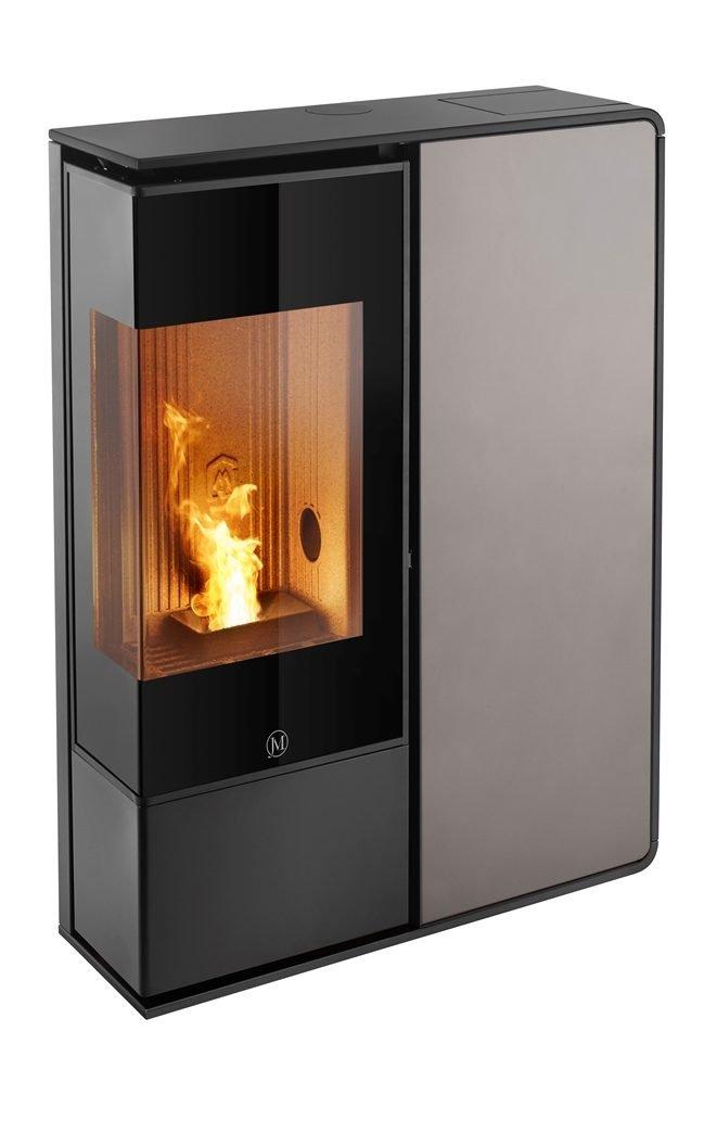 Thermopoêle air pellets I-DEA 2 ANGOLO profil couleur noir et panneau couleur gris tourterelle