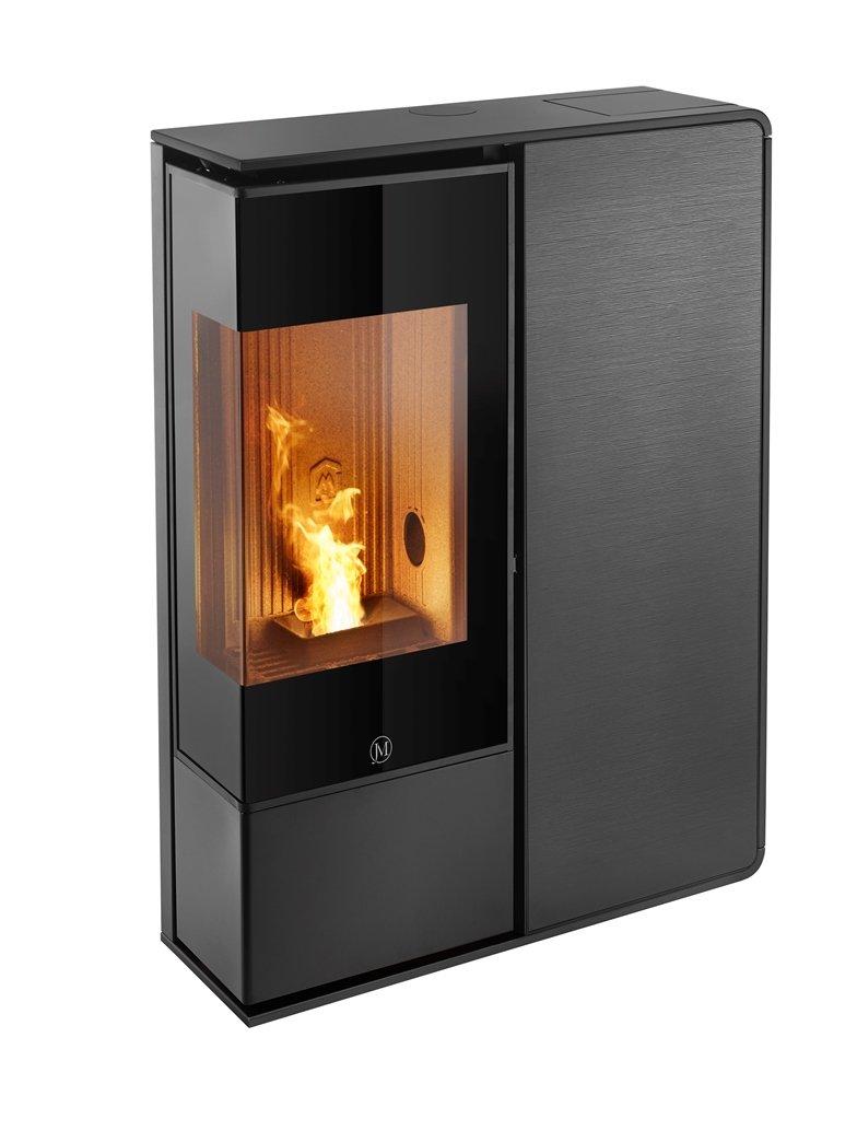 Thermopoêle air pellets I-DEA 2 ANGOLO profil couleur noir et panneau couleur verre rayé noir