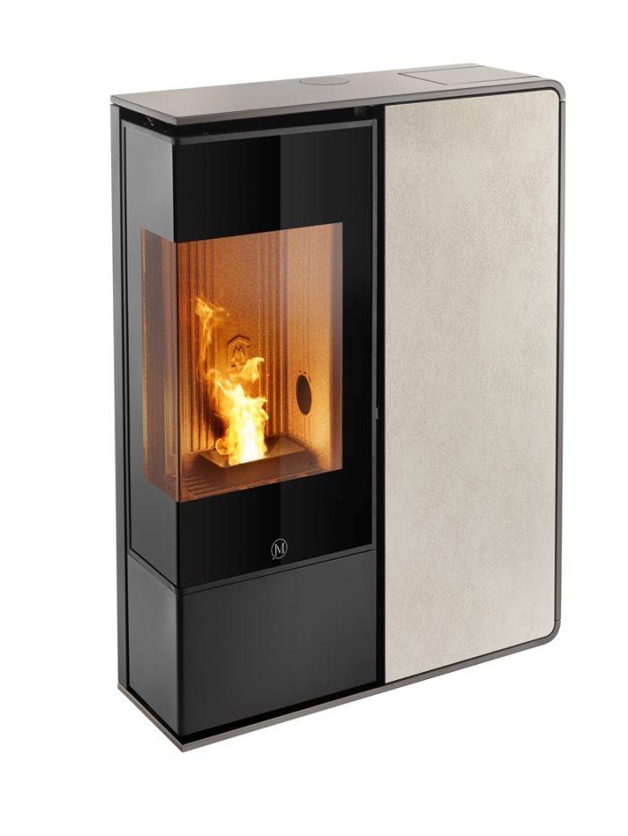 Thermopoêle air pellets I-DEA 2 ANGOLO profil couleur gris tourterelle et panneau couleur ivoire