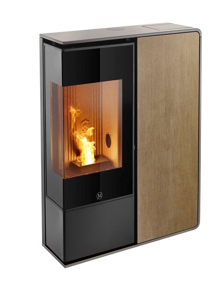 Thermopoêle air pellets I-DEA 2 ANGOLO profil couleur gris tourterelle et panneau couleur bois