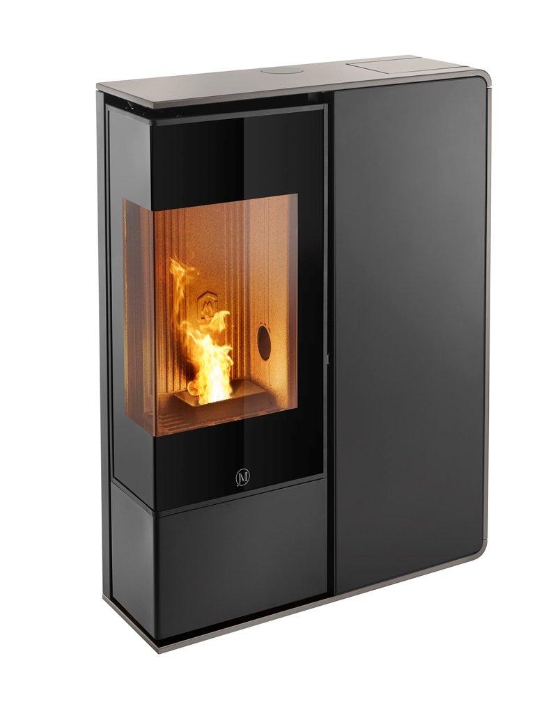 Thermopoêle air pellets I-DEA 2 ANGOLO profil couleur gris tourterelle et panneau couleur noir