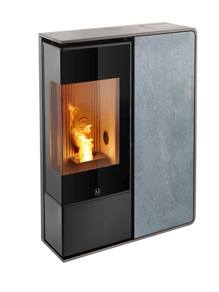 Thermopoêle air pellets I-DEA 2 ANGOLO profil couleur gris tourterelle et panneau couleur pierre