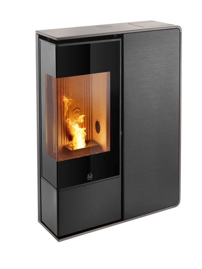Thermopoêle air pellets I-DEA 2 ANGOLO profil couleur gris tourterelle et panneau couleur verre rayé noir