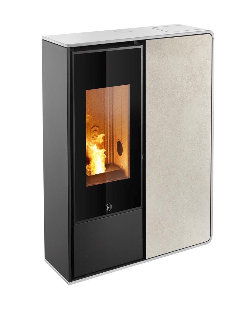 Thermopoêle air pellets I-DEA 2 FRONTALE profil couleur blanc et panneau couleur ivoire