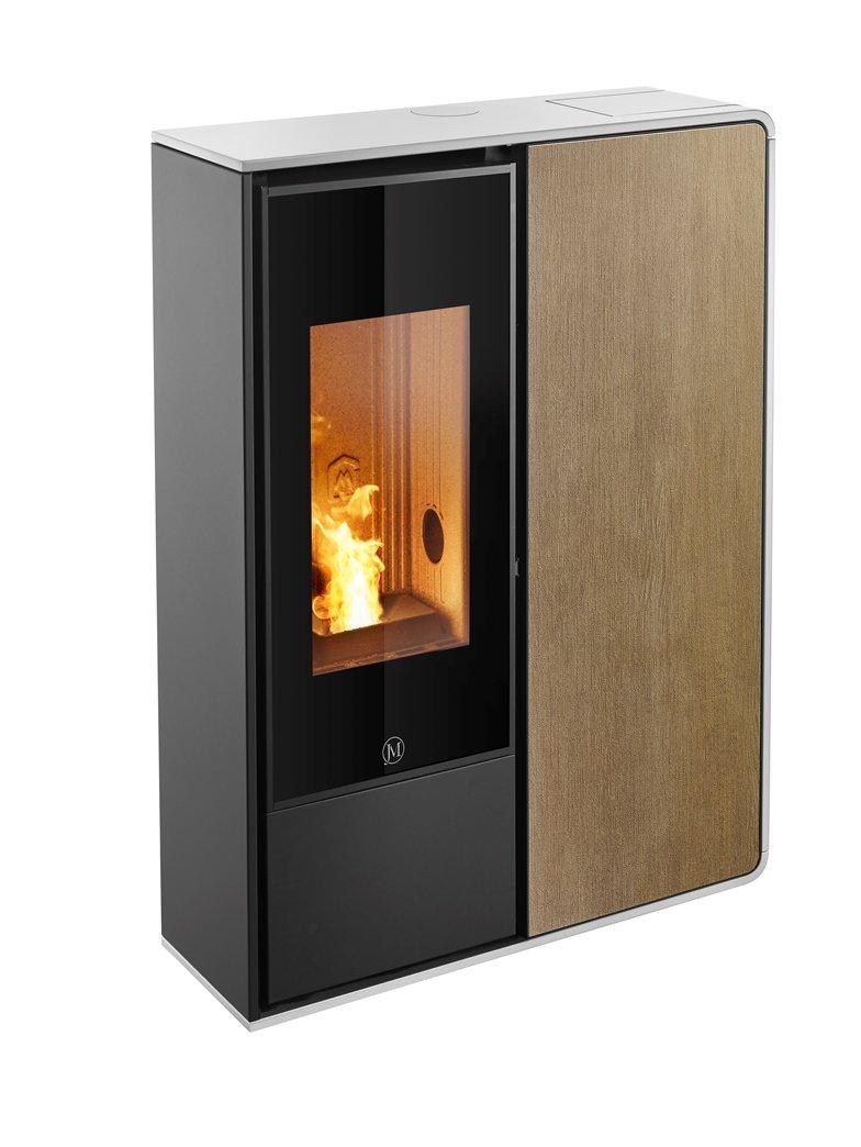 Thermopoêle air pellets I-DEA 2 FRONTALE profil couleur blanc et panneau couleur bois