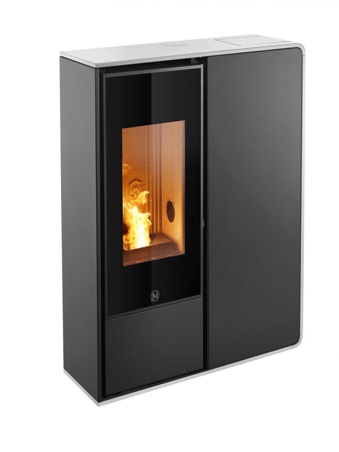 Thermopoêle air pellets I-DEA 2 FRONTALE profil couleur blanc et panneau couleur noir