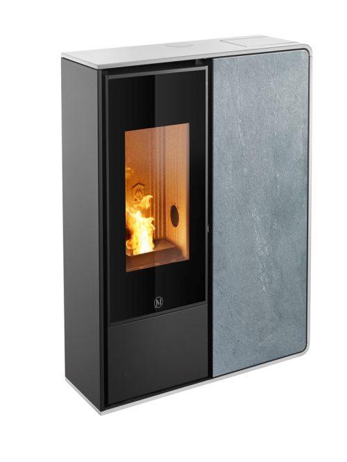 Thermopoêle air pellets I-DEA 2 FRONTALE profil couleur blanc et panneau couleur pierre