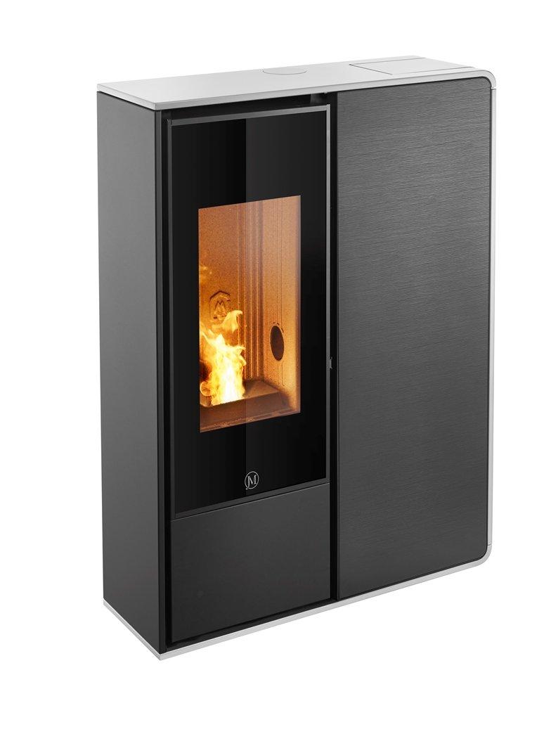 Thermopoêle air pellets I-DEA 2 FRONTALE profil couleur blanc et panneau couleur verre rayé noir
