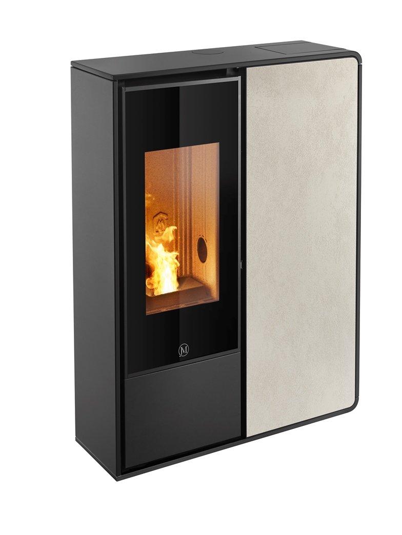 Thermopoêle air pellets I-DEA 2 FRONTALE profil couleur noir et panneau couleur ivoire