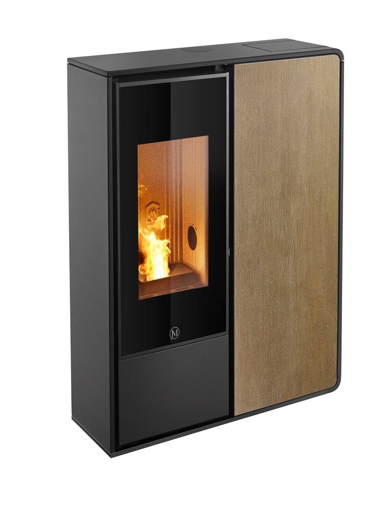 Thermopoêle air pellets I-DEA 2 FRONTALE profil couleur noir et panneau couleur bois