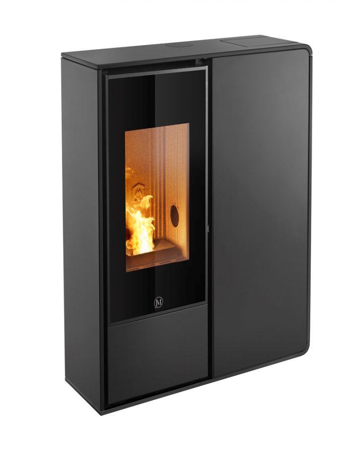Thermopoêle air pellets I-DEA 2 FRONTALE profil couleur noir et panneau couleur noir