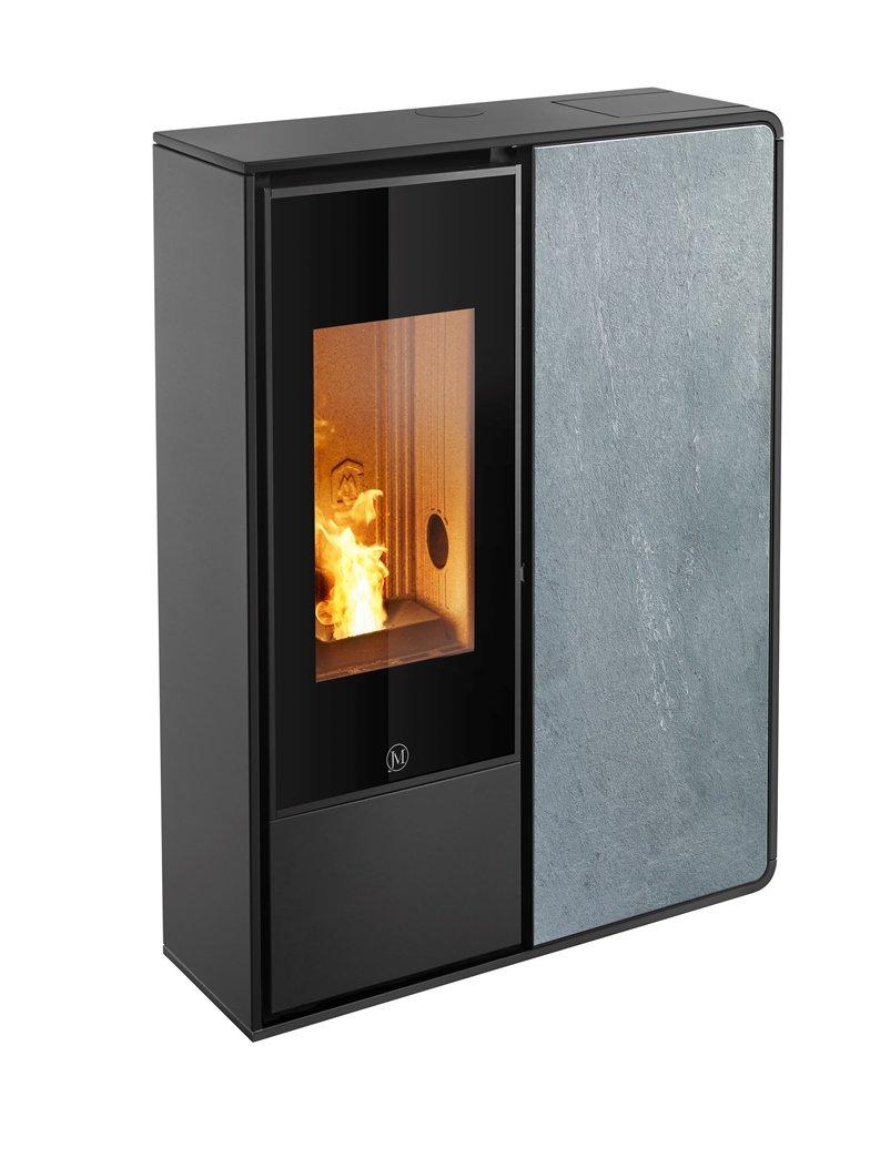 Thermopoêle air pellets I-DEA 2 FRONTALE profil couleur noir et panneau couleur pierre
