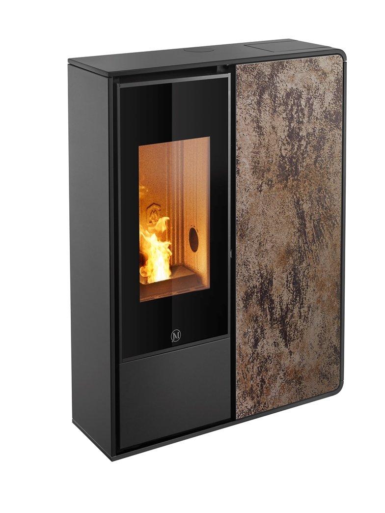 Thermopoêle air pellets I-DEA 2 FRONTALE profil couleur noir et panneau couleur rouille