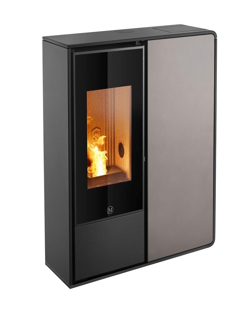 Thermopoêle air pellets I-DEA 2 FRONTALE profil couleur noir et panneau couleur gris tourterelle