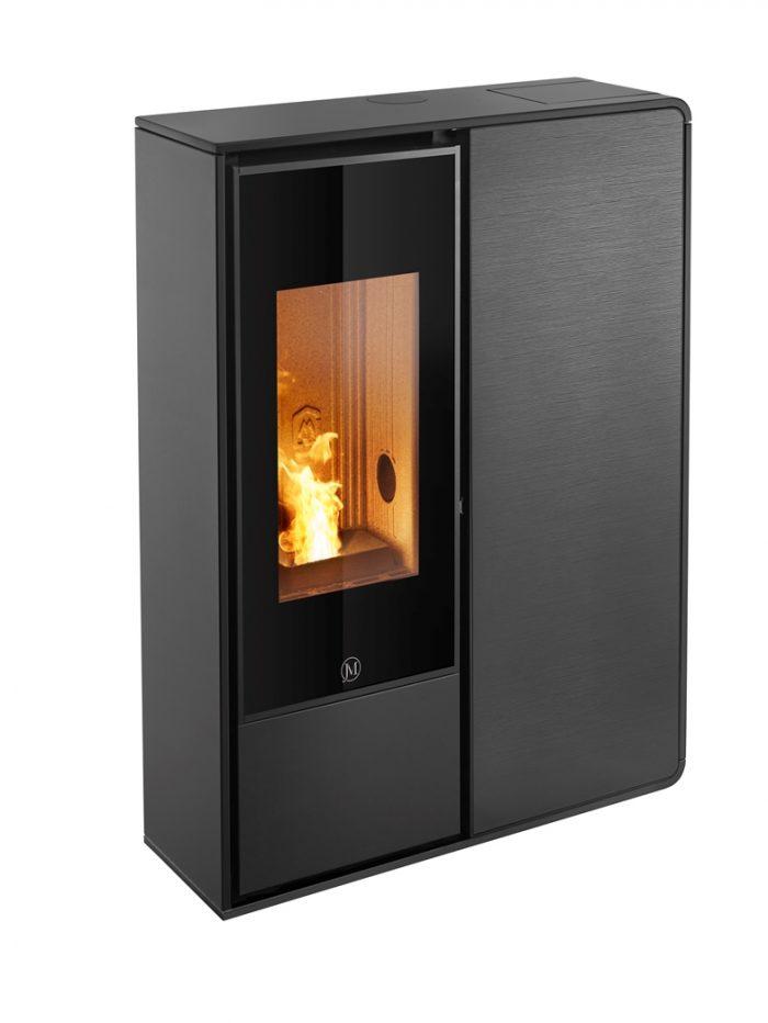Thermopoêle air pellets I-DEA 2 FRONTALE profil couleur noir et panneau couleur verre rayé noir