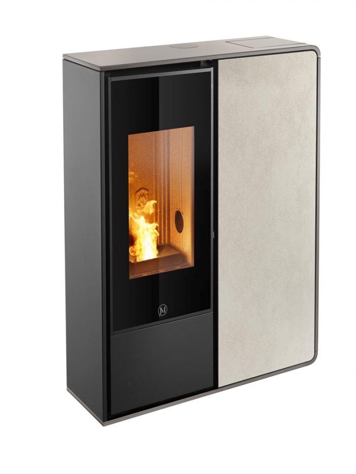Thermopoêle air pellets I-DEA 2 FRONTALE profil couleur gris tourterelle et panneau couleur ivoire