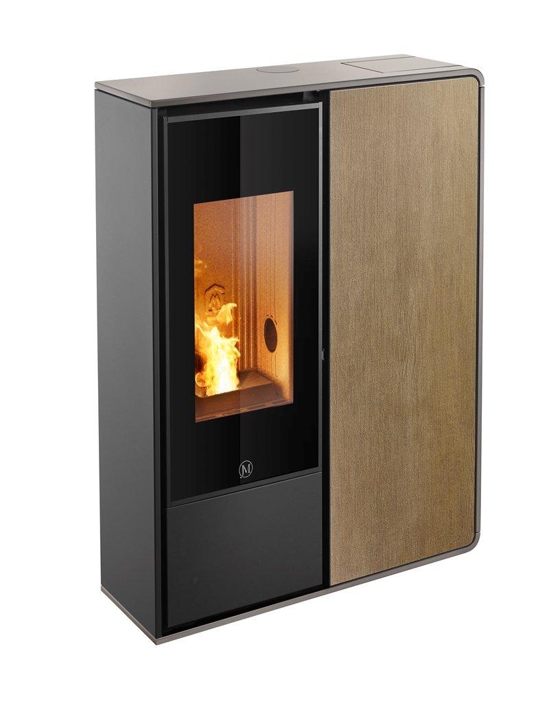 Thermopoêle air pellets I-DEA 2 FRONTALE profil couleur gris tourterelle et panneau couleur bois
