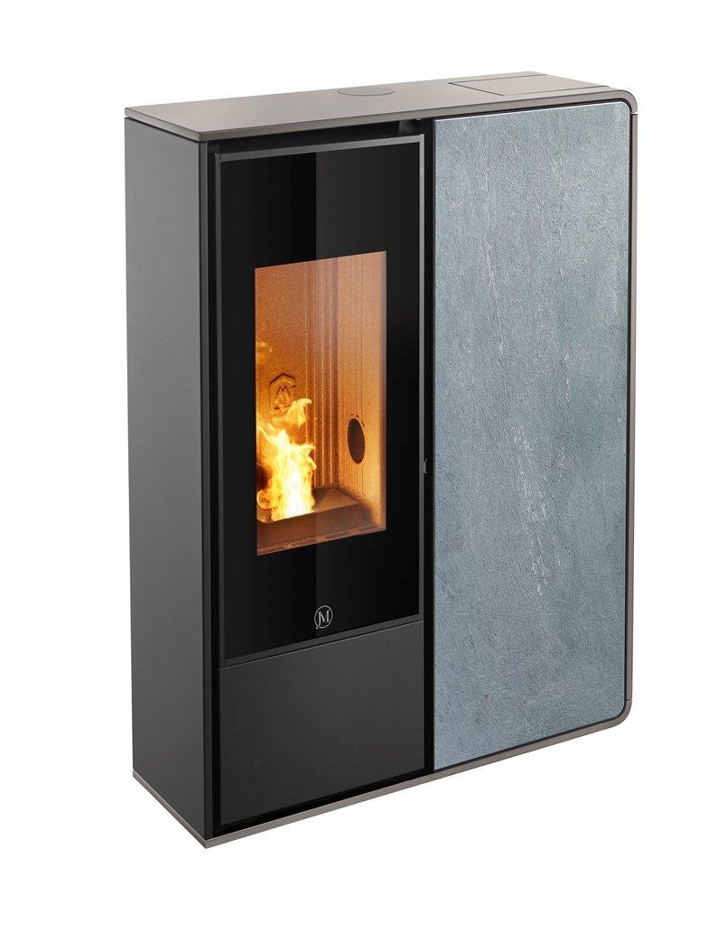Thermopoêle air pellets I-DEA 2 FRONTALE profil couleur gris tourterelle et panneau couleur pierre