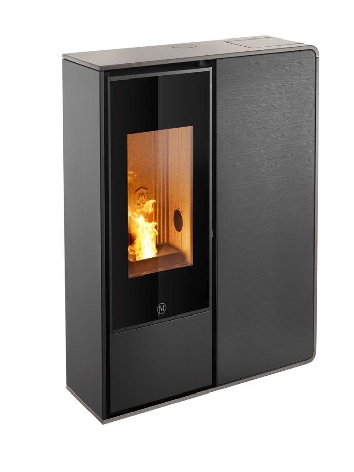 Thermopoêle air pellets I-DEA 2 FRONTALE profil couleur gris tourterelle et panneau couleur verre rayé noir