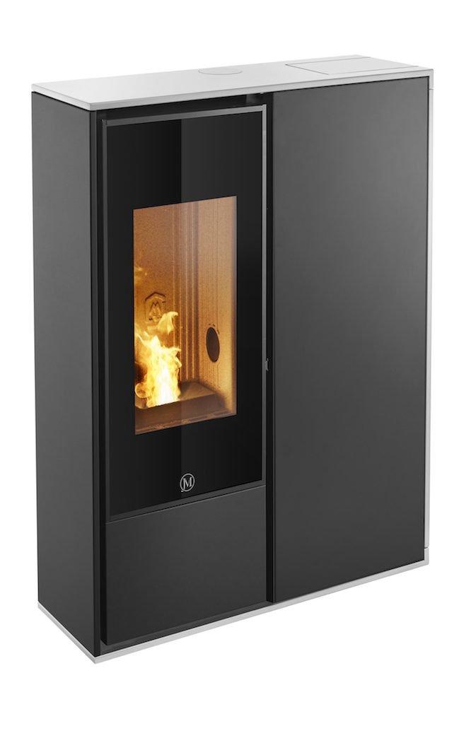 Thermopoêle air pellets I-DEA 2 QUADRA profil couleur blanc et panneau couleur noir