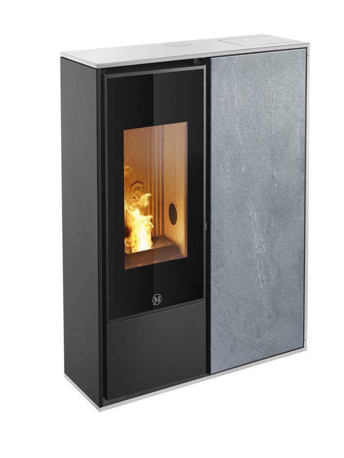 Thermopoêle air pellets I-DEA 2 QUADRA profil couleur blanc et panneau couleur pierre