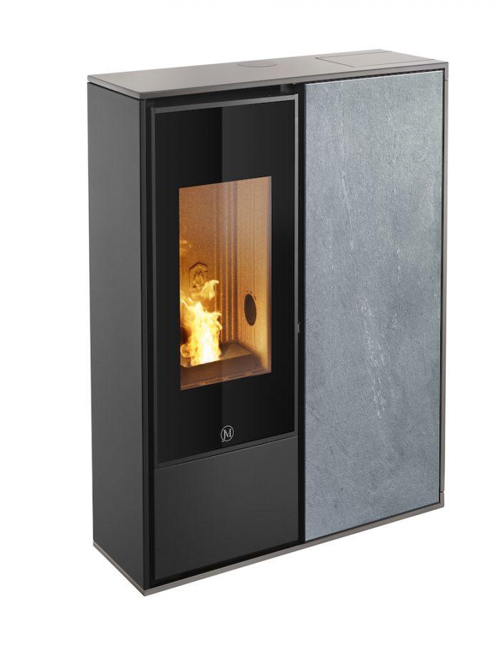 Thermopoêle air pellets I-DEA 2 QUADRA profil couleur gris tourterelle et panneau couleur pierre