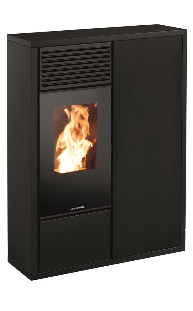 Thermopoêle eau pellets I-DEA IDRO QUADRA profil couleur noir et panneau couleur noir