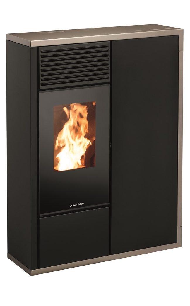 Thermopoêle eau pellets I-DEA IDRO QUADRA profil couleur gris tourterelle et panneau couleur noir