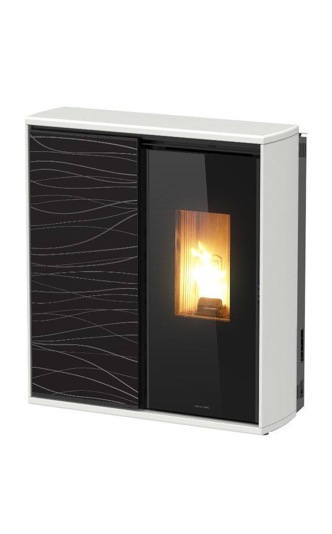 Thermopoêle air bois/pellets REVERSE couleur blanc avec panneau décoré